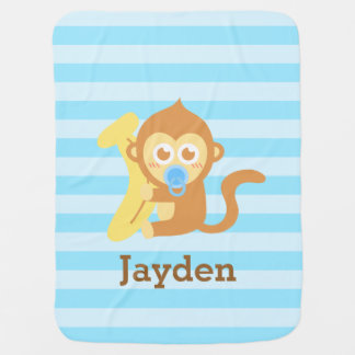 Cute Baby Monkey With Banana, For Babies Baby Blanket