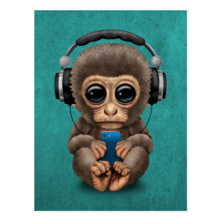 Cute Baby Monkey With Cell Phone Wearing Headphone Postcard