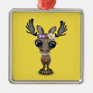 Cute Baby Moose Hippie Christmas Ornament