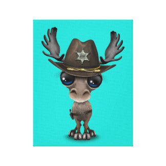 Cute Baby Moose Sheriff Canvas Print