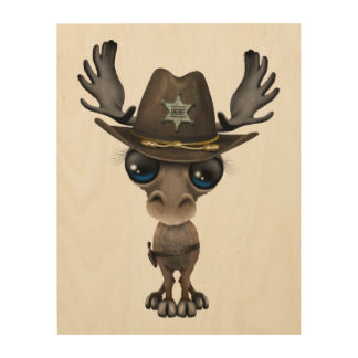 Cute Baby Moose Sheriff Wood Prints