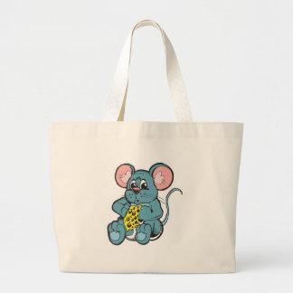 cute baby mouse eating cheese jumbo tote bag