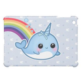 Cute baby narwhal and rainbow iPad mini covers