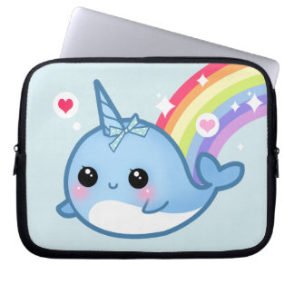 Cute baby narwhal and rainbow laptop sleeves