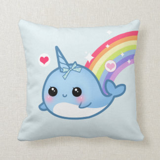 Cute baby narwhal and rainbow pillow