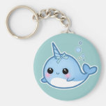 Cute baby narwhal basic round button key ring