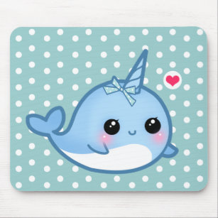 Cute baby narwhal mouse mat