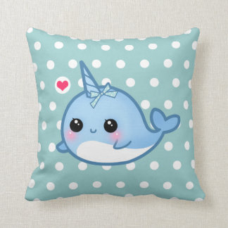 Cute baby narwhal on polka dots throw pillows