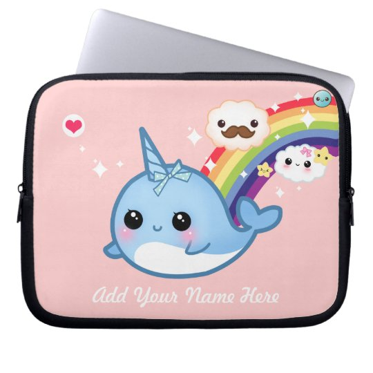 Cute baby narwhal with rainbow and clouds on