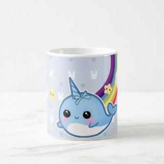 Cute baby narwhal with rainbow and kawaii cloud basic white mug