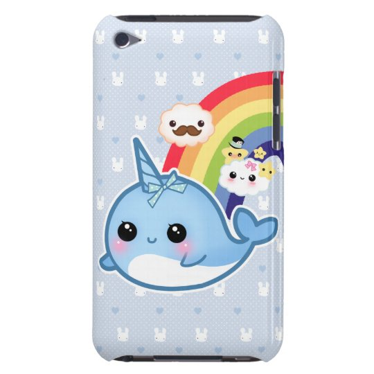 Cute baby narwhal with rainbow and kawaii clouds