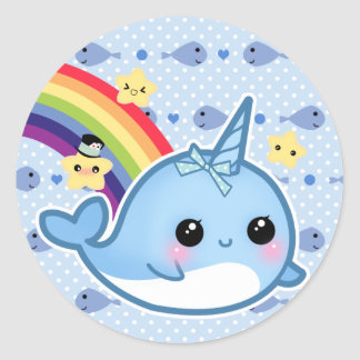 Cute baby narwhal with rainbow and stars round sticker