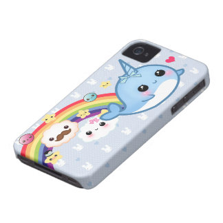 Cute baby narwhal with rainbow, clouds and stars iPhone 4 Case-Mate case