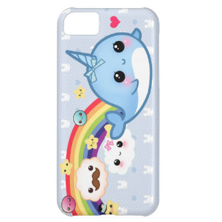 Cute baby narwhal with rainbow, clouds and stars iPhone 5C case