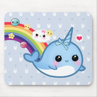 Cute baby narwhal with rainbow, clouds and stars mouse mat