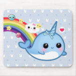 Cute baby narwhal with rainbow, clouds and stars mouse pad