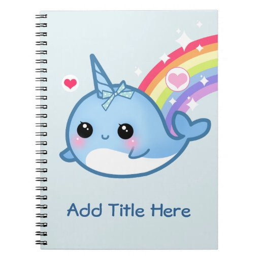 Cute baby narwhal with rainbow - Personalized Note Book