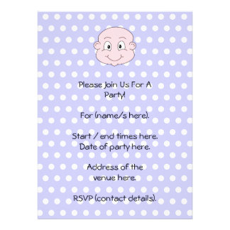 Cute Baby on lilac polka dot pattern Personalized Announcements