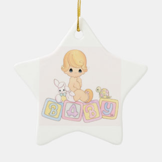 Cute Baby on Toy Blocks Christmas Ornament