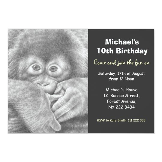Cute Baby Orangutan Birthday Party Invitation