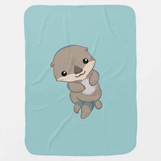 Cute Baby Otter Pup Baby Blanket