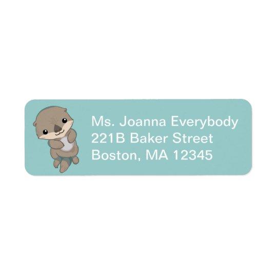 Cute Baby Otter Pup Return Address Label