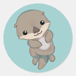 Cute Baby Otter Pup Round Sticker