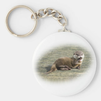 Cute Baby Otter Yawning Key Ring
