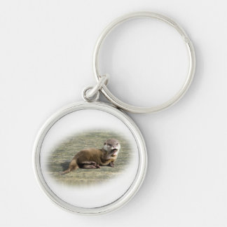 Cute Baby Otter Yawning Key Ring