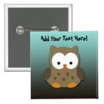 Cute Baby Owl Personalised Button