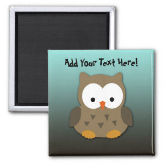 Cute Baby Owl Personalized Square Magnet