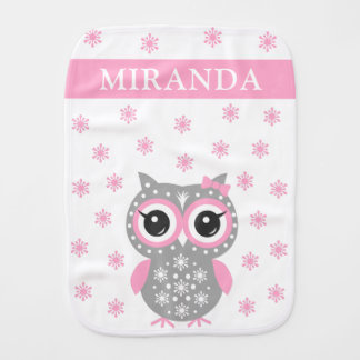 Cute Baby Owl Pink Gray Custom Name Burp Cloth