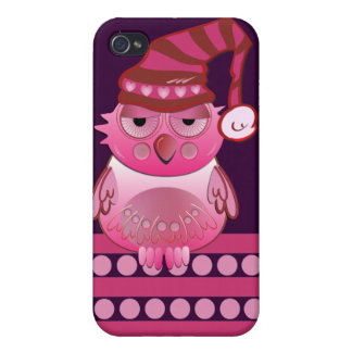 Cute Baby Owl with Nightcap & name Case For The iPhone 4