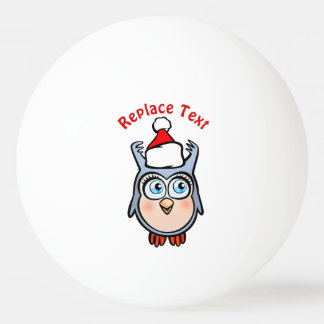 Cute Baby Owl With Santa Claus Hat Ping Pong Ball
