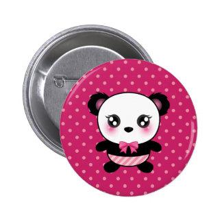 Cute Baby Panda Bear Pink Polka Dots Pattern 6 Cm Round Badge