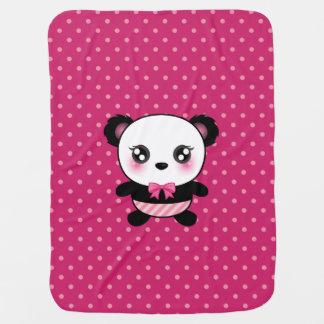 Cute Baby Panda Bear Pink Polka Dots Pattern Baby Blanket