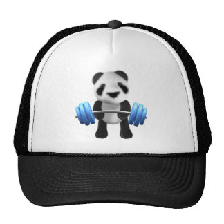 Cute baby panda bear powerlifter in 3d (editable) hats
