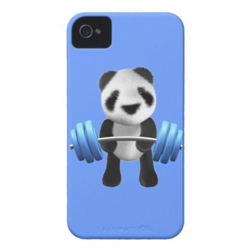 Cute baby panda bear powerlifter in 3d (editable) iPhone 4 Case-Mate case