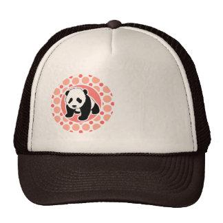 Cute Baby Panda Pink Coral Polka Dots Hats