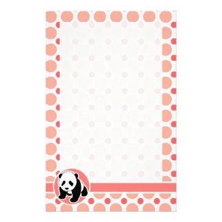 Cute Baby Panda; Pink & Coral Polka Dots Stationery Design