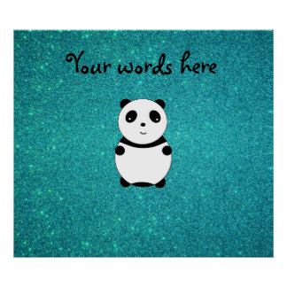 Cute baby panda turquoise glitter poster