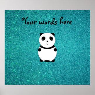Cute baby panda turquoise glitter poster