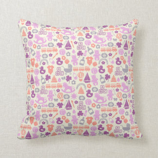 Cute baby pattern in neutral colors cushion