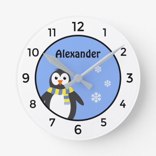 Cute baby penguin add name blue white kid's