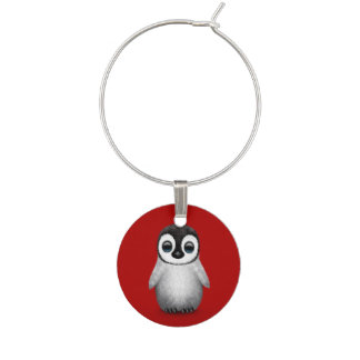 Cute Baby Penguin on Deep Red Wine Charm
