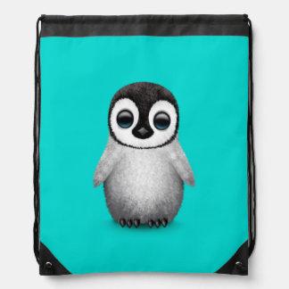 Cute Baby Penguin on Light Blue Drawstring Bag