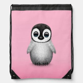 Cute Baby Penguin on Pink Drawstring Bag