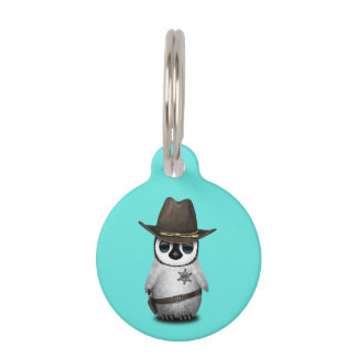 Cute Baby Penguin Sheriff Pet Name Tags