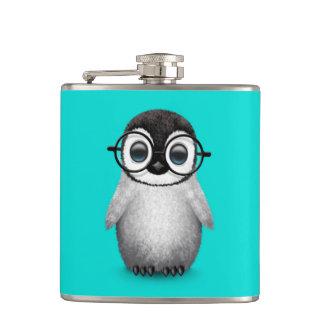 Cute Baby Penguin Wearing Eye Glasses on Blue Flasks