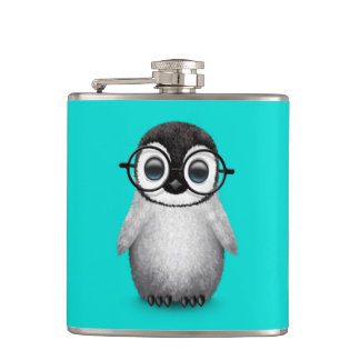 Cute Baby Penguin Wearing Eye Glasses on Blue Hip Flask